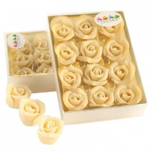 Roses en pâte d'amandes FunCakes blanc 12 pièces