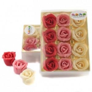 Roses en pâte d'amandes FunCakes rouge, rose et blanc 12 pièces