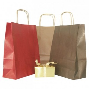 Sac cabas kraft chocolat 240 x 300 mm (lot de 50)
