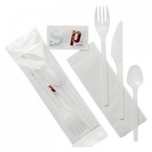 Sachet couvert PS blanc contenu S C F PC sel+poivre (lot de 250)