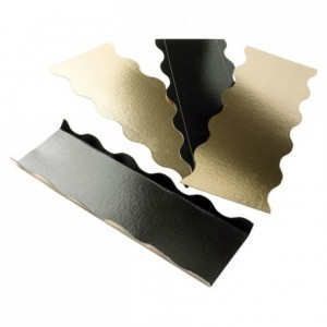 Wavy base for log and cake gold and black 250 x 100 mm (50 pcs)