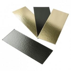 Semelle à bûche unie or/noir bords droits 600 x 100 mm (lot de 50)
