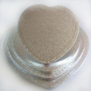 Semelle à gâteau FunCakes argentée coeur 32,5 cm