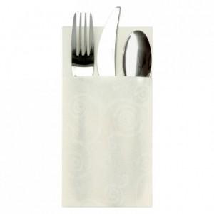 Serviette pochette en non tissé 1 pli blanche 40 x 40 cm (lot de 50)