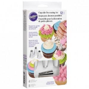 Set de décoration à cupcakes Wilton 4 douilles et 8 poches à douilles jetables 30 cm