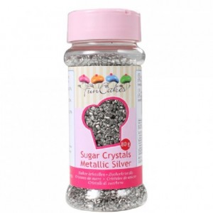 FunCakes Coloured Sugar Metallic Silver 80g