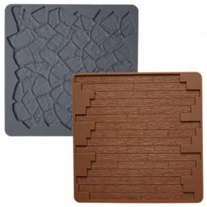 Wilton Silicone Texture Mat Stone Wood Set/2