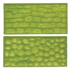Tapis relief à pâte à sucre FMM chemin pierre galet 2 pièces