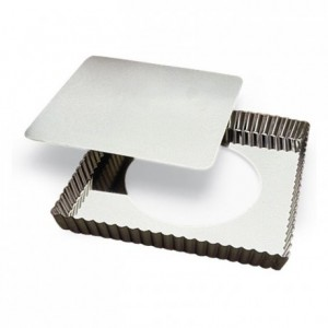 Square fluted tart mould loose bottom tin 230x230 mm (pack of 3)
