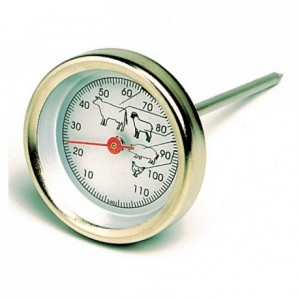 Meat Thermometer round stainless steel 0 to +120°C