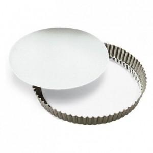Tourtière ronde cannelée haute fond mobile fer blanc Ø280 mm (lot de 3)
