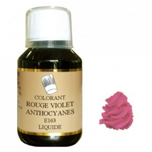 Colorant liquide hydrosoluble rouge violet anthocyanes 500 mL