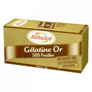 Gélatine Or 500 feuilles 200 Bloom 1 kg