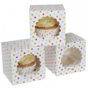 House of Marie Cupcake Box 1 Confetti pk/3