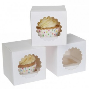 House of Marie Cupcake Box 1 White pk/3