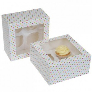 House of Marie Cupcake Box 4 Confetti pk/2