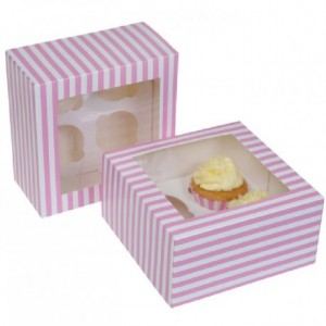House of Marie Cupcake Box 4 Circus Pink pk/2