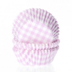 House of Marie Baking cups Check Pink pk/50