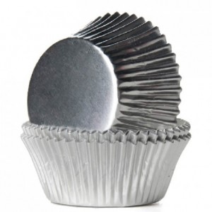 House of Marie Baking Cups Foil Silver pk/24