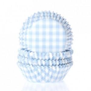 Caissettes House of Marie Gingham Pastel Blue 50 pièces