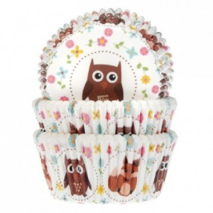 House of Marie Baking Cups Owl and Fox pk/50