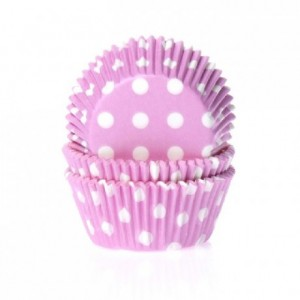 House of Marie Baking cups Polkadot Pink pk/50