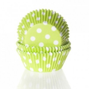 House of Marie Baking cups Polkadot Lime Green pk/50