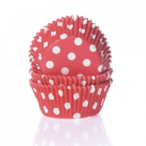 Caissettes House of Marie Polkadot Red 50 pièces