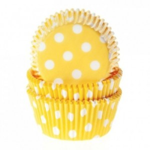 Caissettes House of Marie Polkadot Yellow 50 pièces