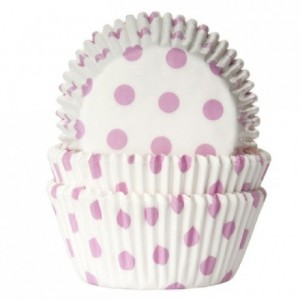 Caissettes House of Marie Polkadot White & Baby Pink 50 pièces