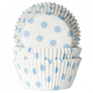 Caissettes House of Marie Polkadot White & Baby Blue 50 pièces