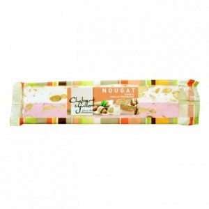 Soft nougat vanilla and raspberry bar 100g