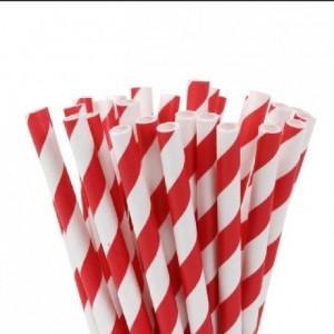 Pailles bâtonnets House of Marie Stripes Red 20 pièces