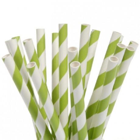 Pailles bâtonnets House of Marie Stripes Green 20 pièces