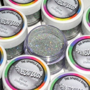 Paillettes décoratives scintillantes Hologram Rainbow Dust Silver 5 g