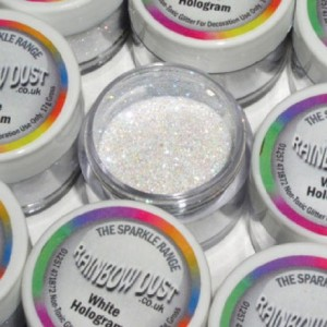 Paillettes décoratives scintillantes Hologram Rainbow Dust White 5 g