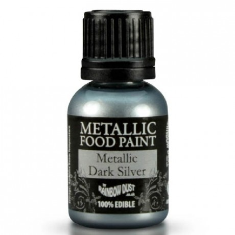 Peinture alimentaire Rainbow Dust Metallic Dark Silver 25 ml