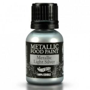 Peinture alimentaire Rainbow Dust Metallic Light Silver 25 ml