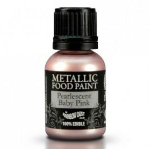 Peinture alimentaire Rainbow Dust Pearlescent Baby Pink 25 ml