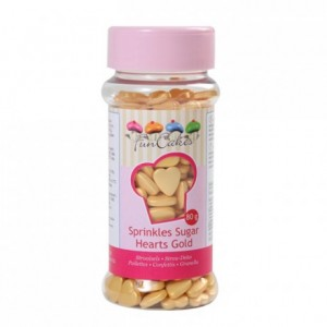 FunCakes Sugar Hearts Gold 80g