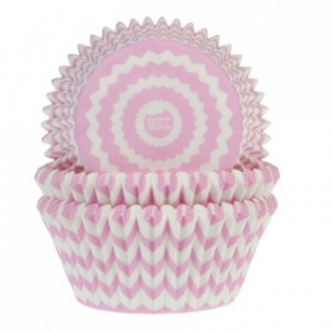 House of Marie Baking Cups Chevron Pink pk/50