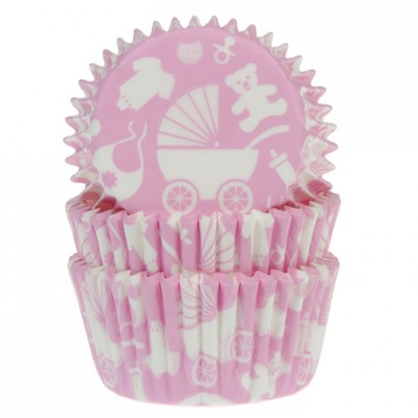 House of Marie Baking Cups Baby Pink pk/50