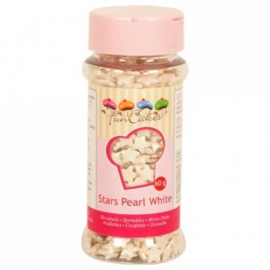 Etoiles blanc perlé en sucre FunCakes 60 g