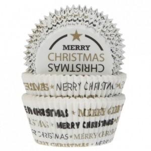 Caissettes à cupcakes House of Marie Joyeux Noël blanc 50 pièces