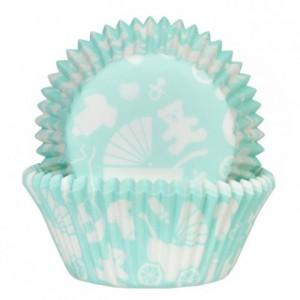 Caissettes à cupcakes House of Marie bébé menthe 50 pièces