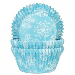Caissettes à cupcakes House of Marie flocon de neige bleu 50 pièces