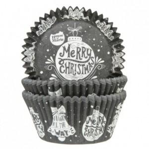 Caissettes à cupcakes House of Marie Joyeux Noël noir 50 pièces