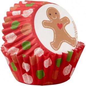 Caissettes mini Wilton Merry & Bright Gingerbread 100 pièces