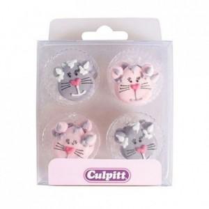 Décoration en sucre Culpitt chats 12 pièces