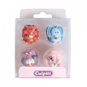 Décoration en sucre Culpitt bébé animaux 12 pièces
